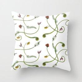 NZ Foliage - White Throw Pillow