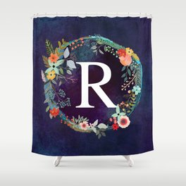 Personalized Monogram Initial Letter R Floral Wreath Artwork Shower Curtain
