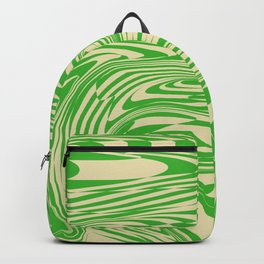 Psychedelic Warped Marble Wavy Checkerboard in Green and Cream Backpack