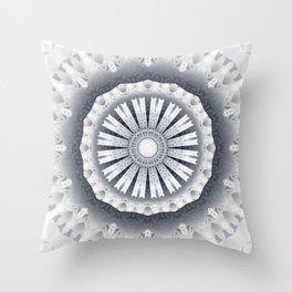 Silver Wedding Inspired Flower Mandala Throw Pillow