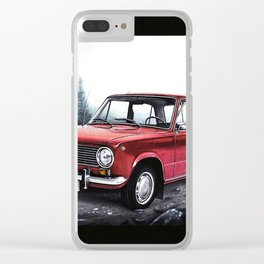 RUSSIAN LADA IN RED WITH SLOVAKIA TATRY MOUNTAINS IN THE BACKGROUND Clear iPhone Case
