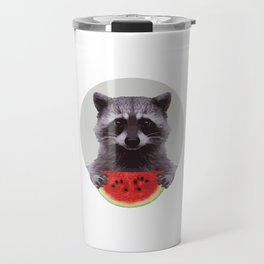 The Racoon and the Watermelon Travel Mug