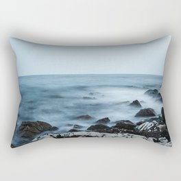 Rocky shore with misty water Rectangular Pillow