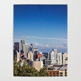 Seattle Overlook with Mt Rainier Poster