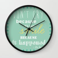 dr seuss Wall Clocks featuring Dr. Seuss Quote by Michelle Krasny