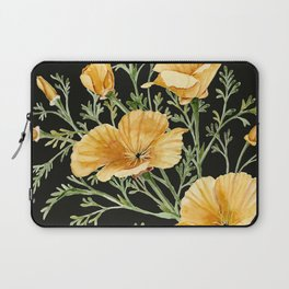 California Poppies on Charcoal Black Laptop Sleeve