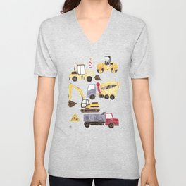 Construction Machines Unisex V-Neck
