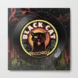 Black Cat LP Art Deco Metal Print