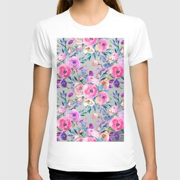 Hand painted pink lilac purple gray watercolor roses T-shirt