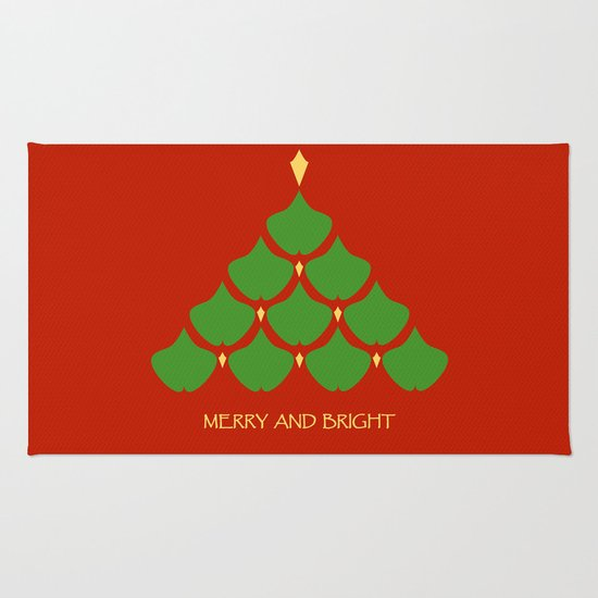 Merry and Bright Ginkgo Christmas Tree Rug