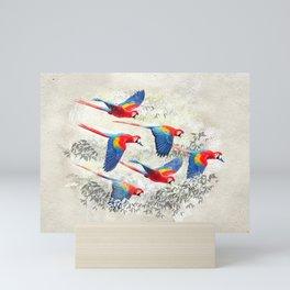 Scarlet macaw flight Mini Art Print