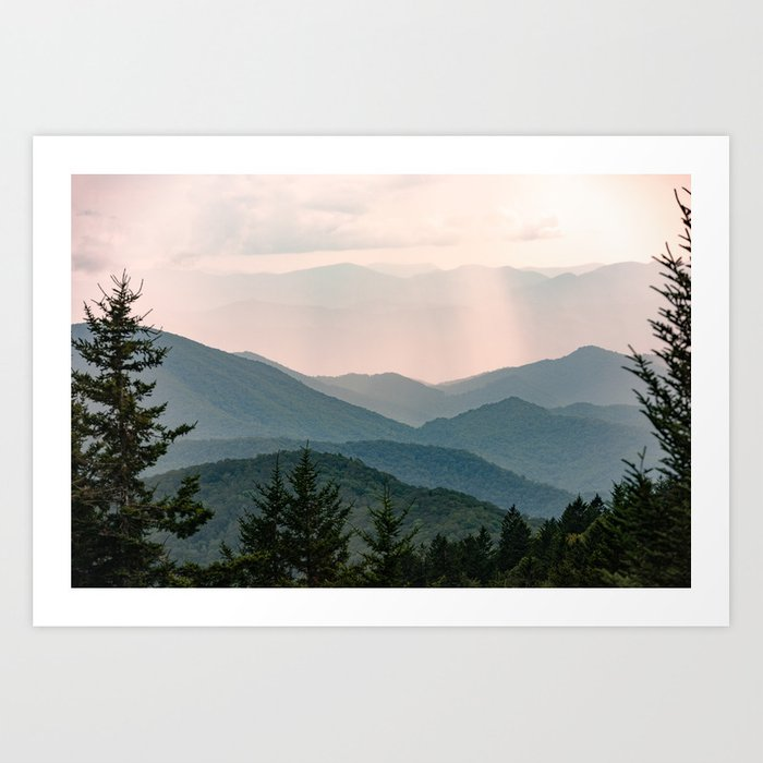 Smoky Mountain Pastel Sunset Art Print