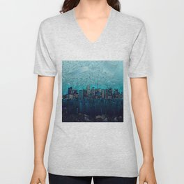 boston city skyline Unisex V-Neck
