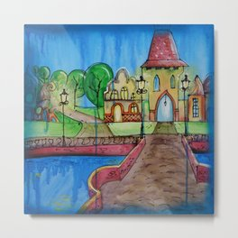 Landscape Painting Fairy town Acrylic S14 Contemporary Nursery Cityscape art for baby children kids Metal Print