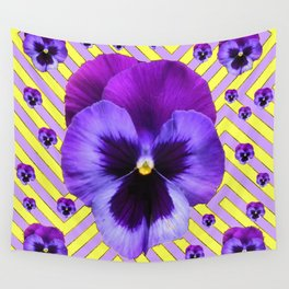 PURPLE PANSY  FLOWERS & YELLOW PATTERNS  GARDEN Wall Tapestry