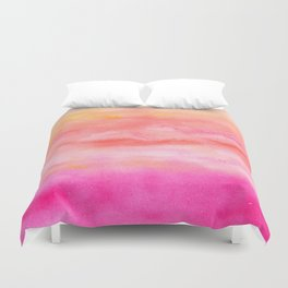Bright pink orange sunset watercolor hand painted Duvet Cover