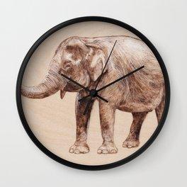 Elephant Portrait - Drawing by Burning on Wood - Pyrography Art Wall Clock