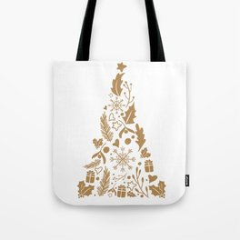 Christmas tree decorative design brown Tote Bag