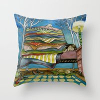 sleep Throw Pillows featuring Sleep by Melizzany