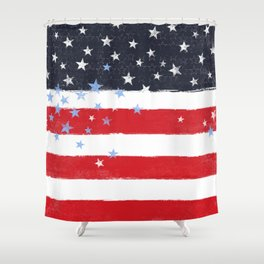 Patriotic Grunge Stars and Stripes Shower Curtain