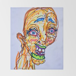 crazy bold gal drawing Throw Blanket