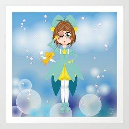Mini Me Stars: Green Sakura Art Print