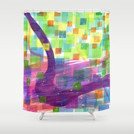 Bend and Squares Shower Curtain