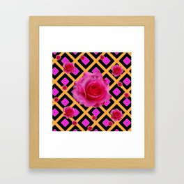 Black-Gold Fuchsia Pink Roses Framed Art Print