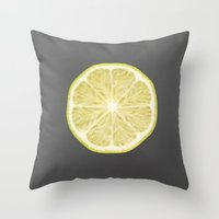 lime Throw Pillows featuring lime by jon hamblin