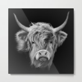 Highland Cow 2 Black and White Metal Print