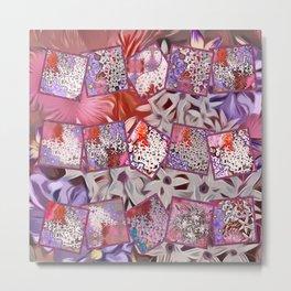 Distinctive Tropical Flower Garden Collage Metal Print