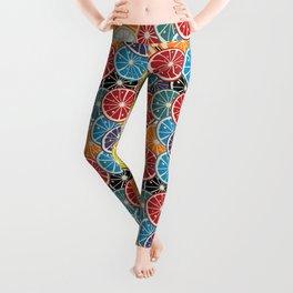 Lemon slice colored pattern Leggings