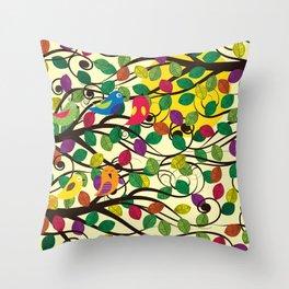 Singing birds and sunset Throw Pillow