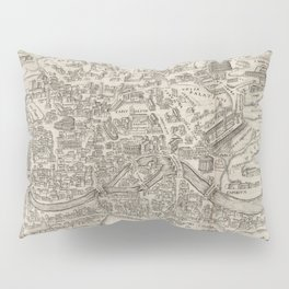 Vintage Pictorial Map of Rome Italy (1575) Pillow Sham