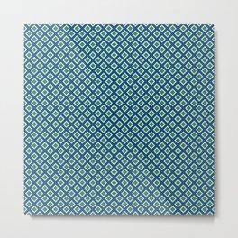 Art Deco Squares - Blue + Green Metal Print