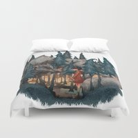 red riding hood Duvet Covers featuring Little Red Riding Hood by Anne Lambelet