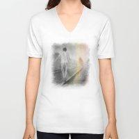 train V-neck T-shirts featuring Train path. by Viviana Gonzalez