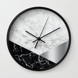 White Marble - Black Granite & Silver #230 Wall Clock