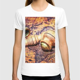 Vintage Wooden Pipe And A Looking Glass On An Old Map T-shirt