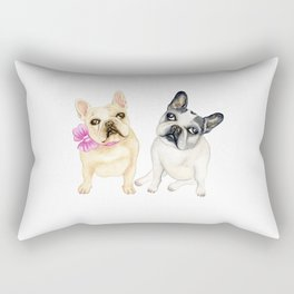 French Bulldogs adorable head tilt fawn and black and white frenchies must have gift for pet lovers Rectangular Pillow