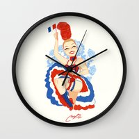 france Wall Clocks featuring France by Melissa Ballesteros Parada