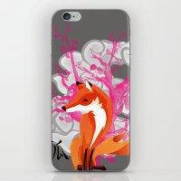 kitsune iPhone & iPod Skins featuring Kitsune by Mazuki Arts