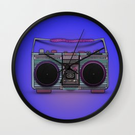 colorful boombox Wall Clock