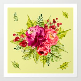 Watercolor Romantic Rose Pattern Art Print