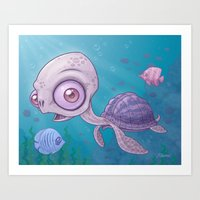 sea turtle Art Prints featuring Sea Turtle by John Schwegel