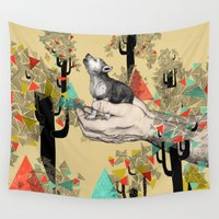 power Wall Tapestries featuring Found You There  by Sandra Dieckmann