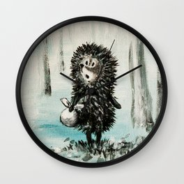 Hedgehog in the fog Wall Clock