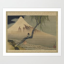 Boy Viewing Mount Fuji by Katsushika Hokusai Art Print