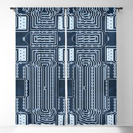Blue Geek Motherboard Circuit Pattern Blackout Curtain