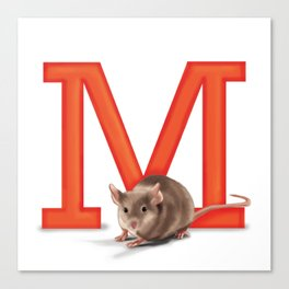 M is for Mouse Canvas Print